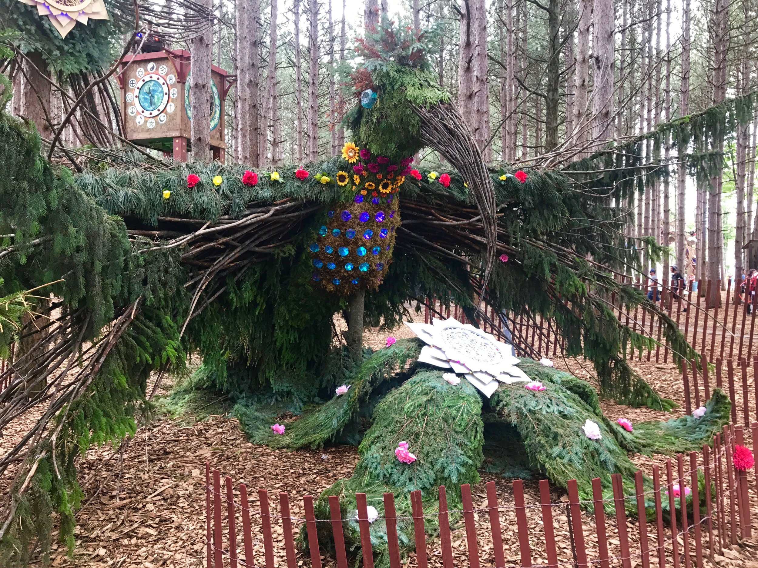 Electric Forest bird made of real trees