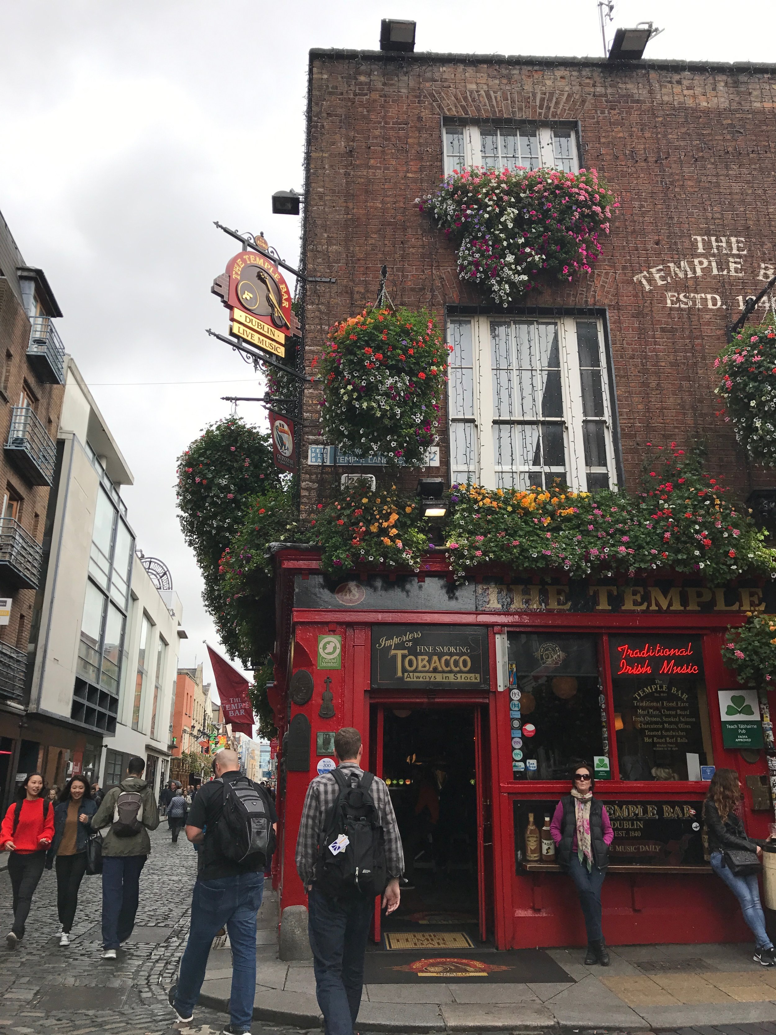 The famous Temple Bar Pub, in none other than the Temple Bar neighborhood.