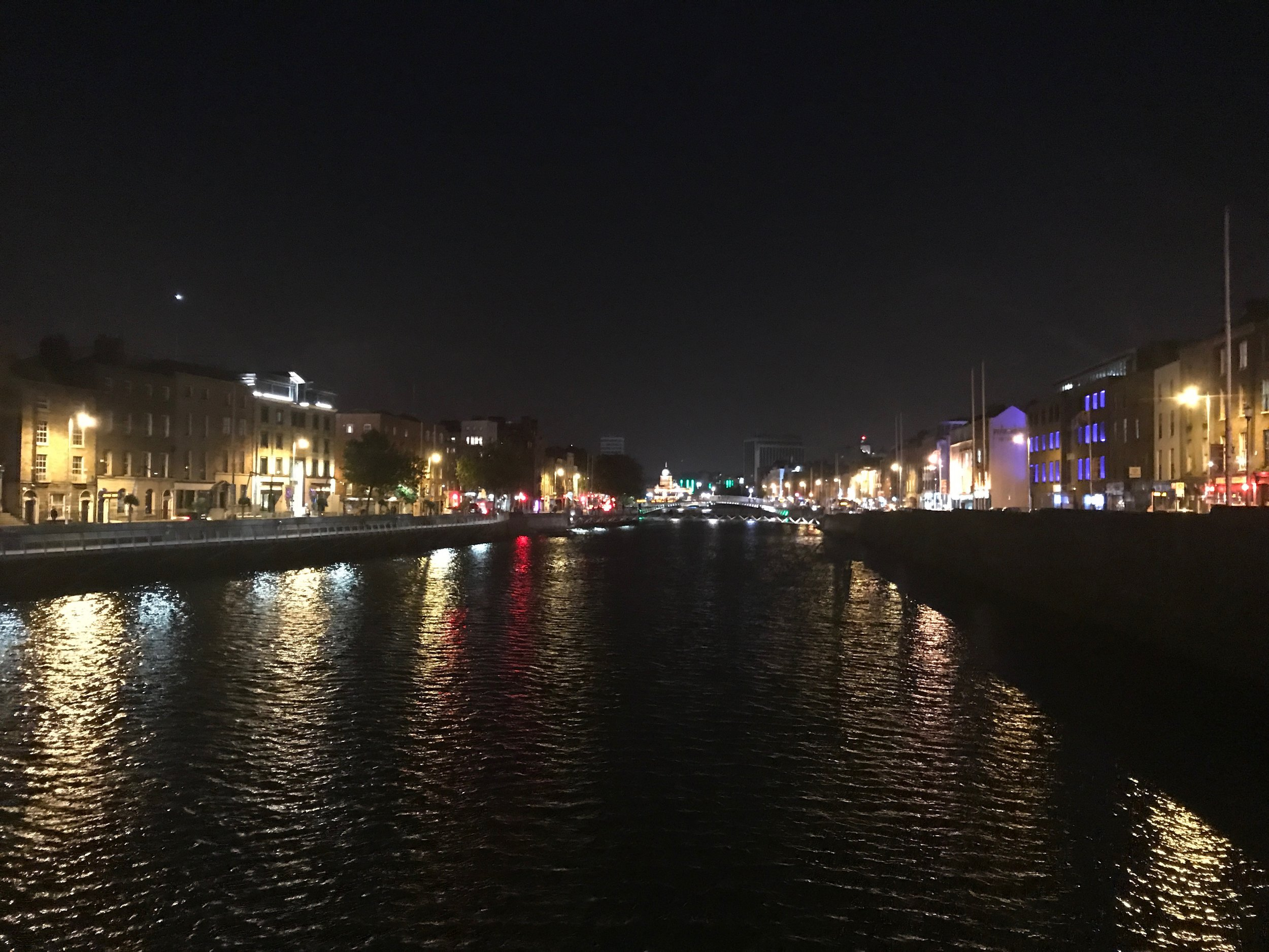 Overlooking the River Liffey at night.