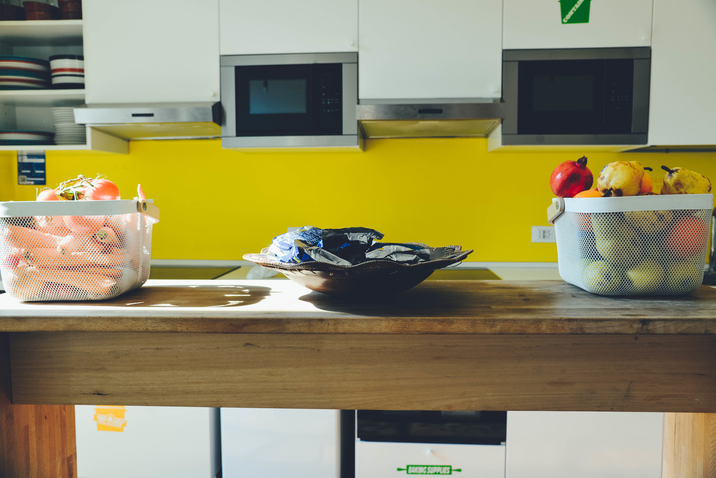 The kitchen in Ostello Bello Hostel in Lake Como is constantly stocked with snacks galore.