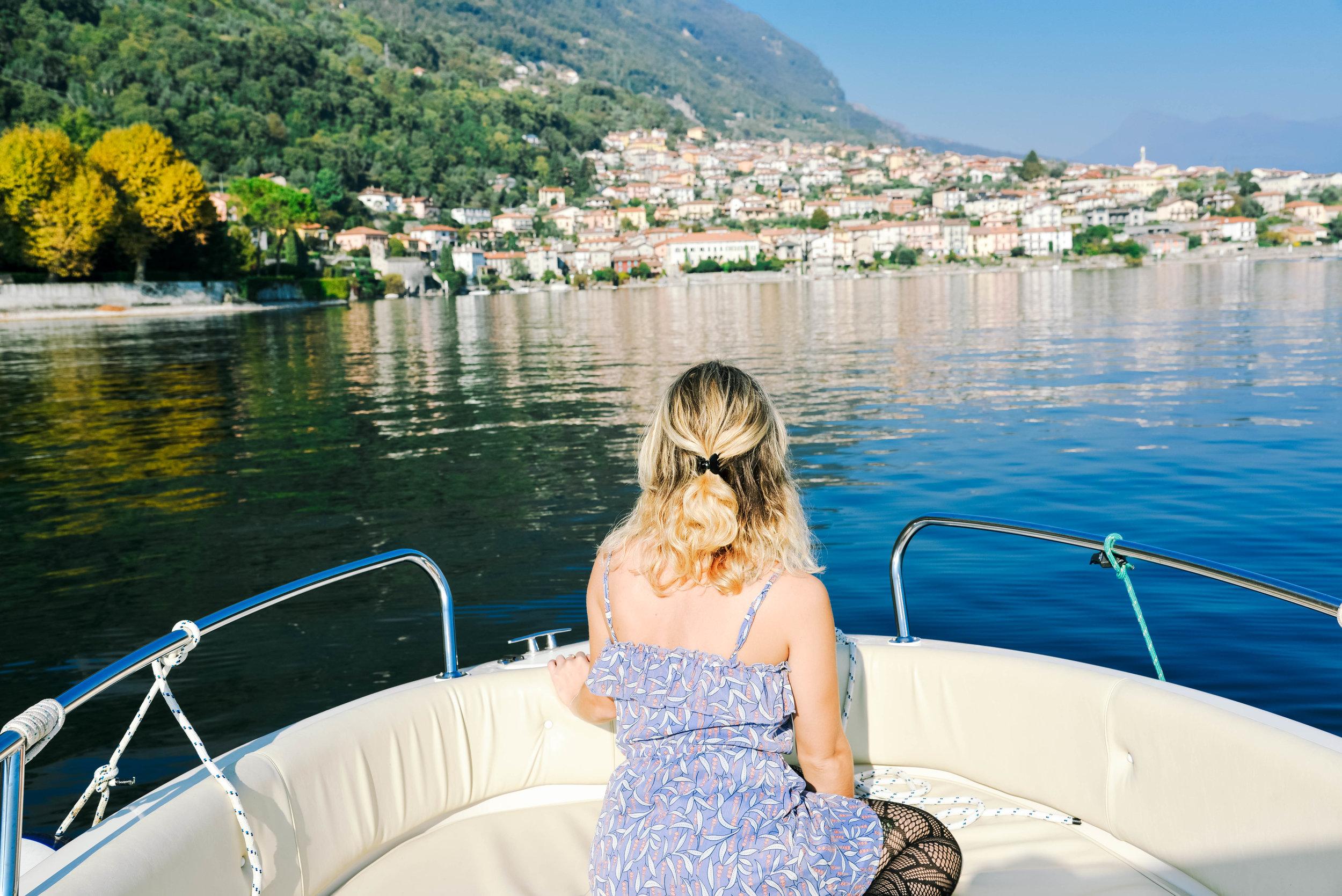 Enjoying Lake Como by boat