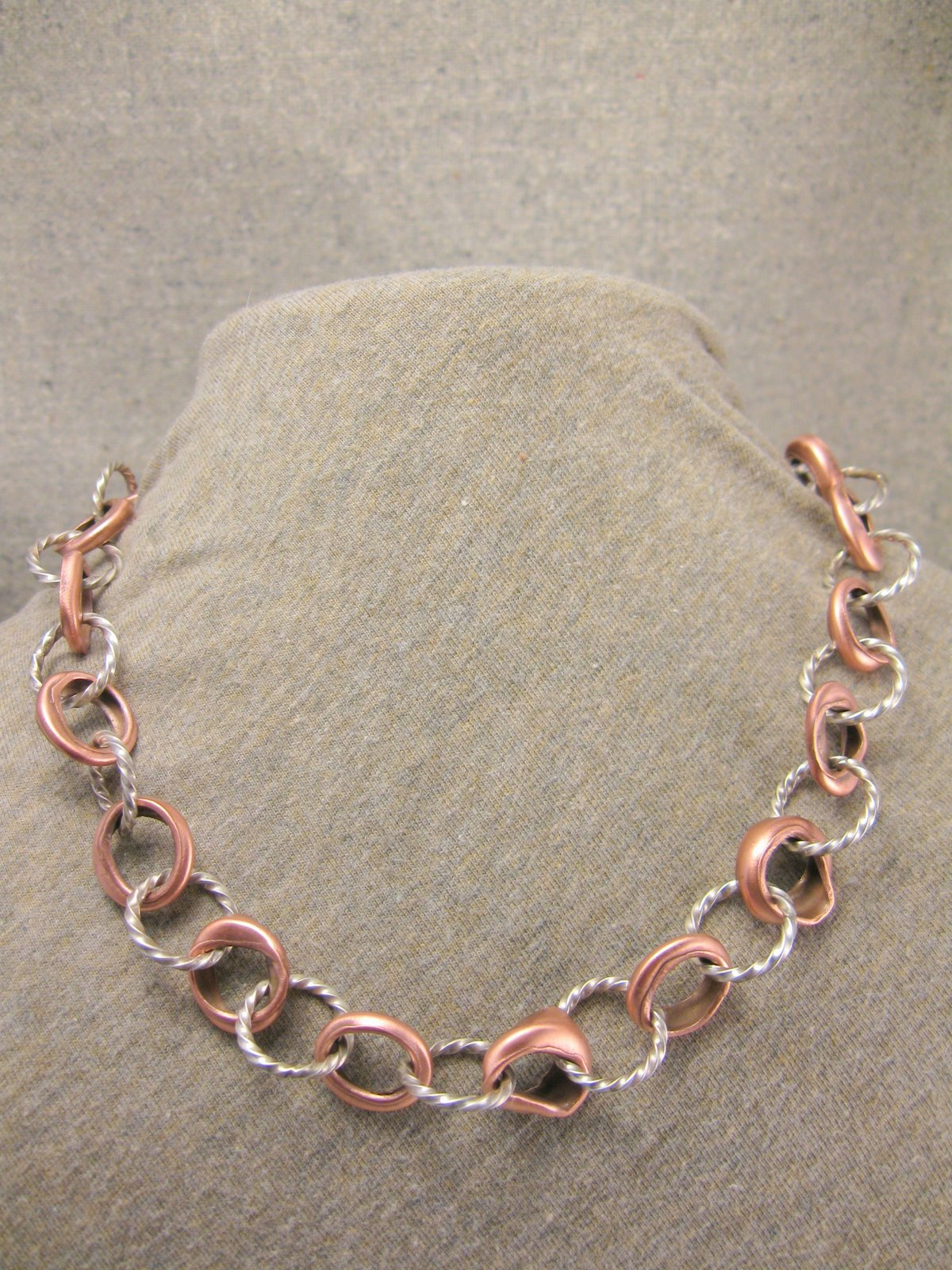 bimetal hammer twist necklace
