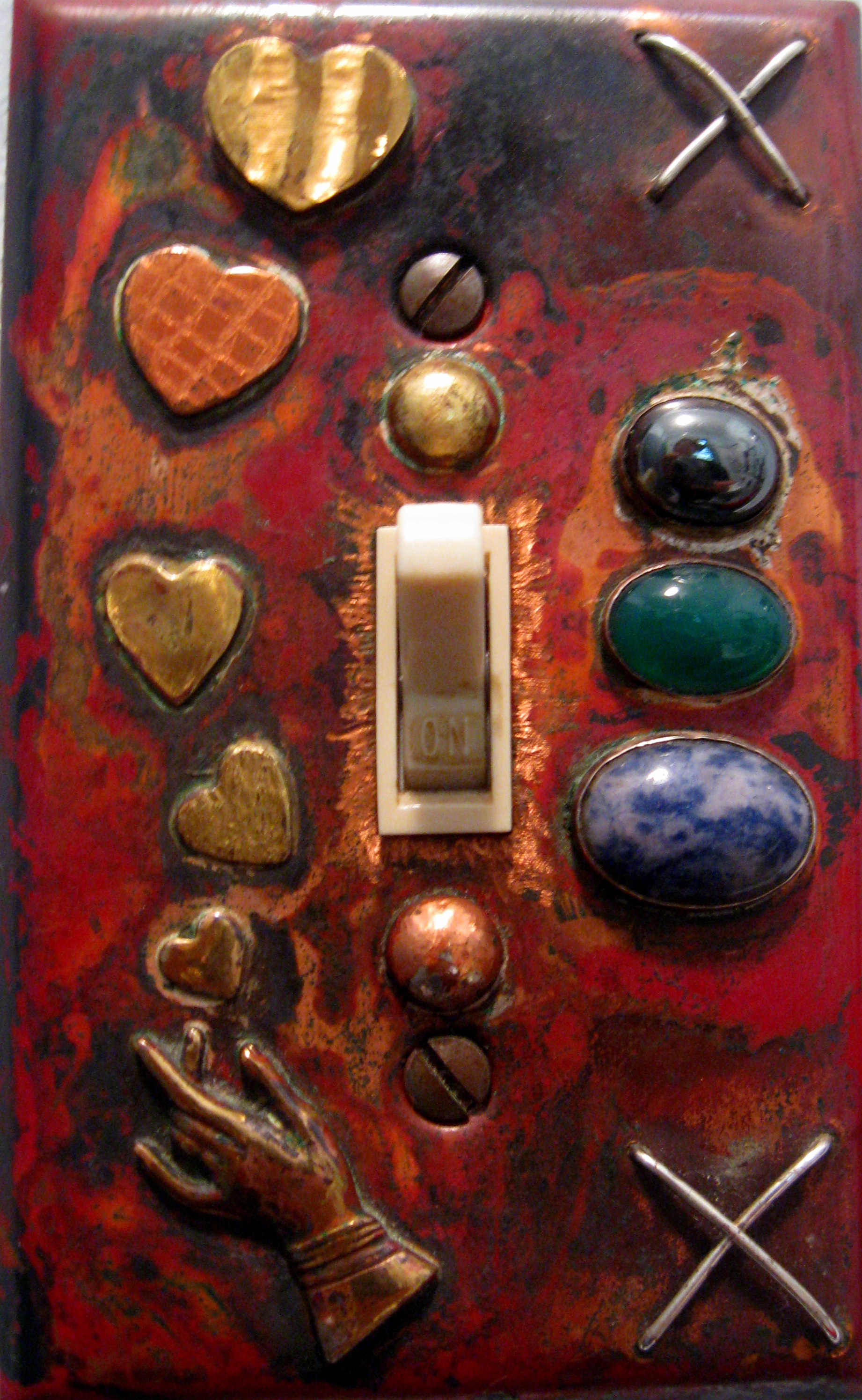adorned copper switchplate (each is unique)