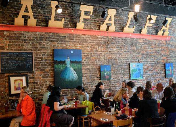 2005-2016 - In 2005, Jim moved Alfalfa from its home for 31 years across from the University to Main Street. The new venue has a bigger kitchen, spacious waiting area, lovely natural light, and brick walls perfect for art shows, making the new venue a perfect spot to transplant Alfalfa.