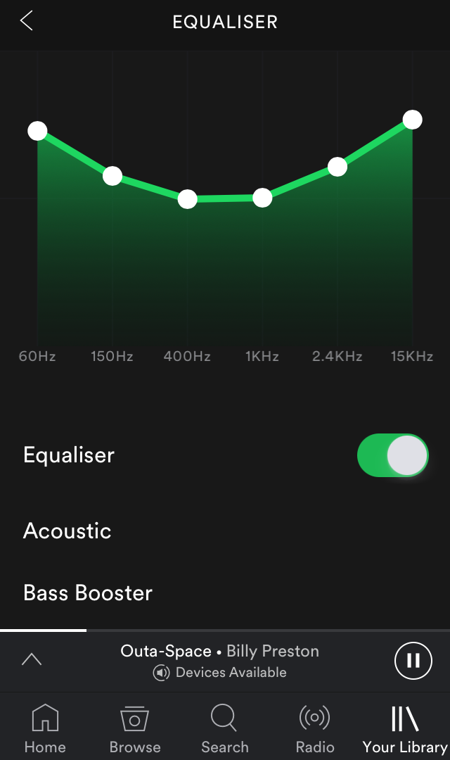 Choose a preset or set a custom preset. Use your ears and body as a guide. :) -