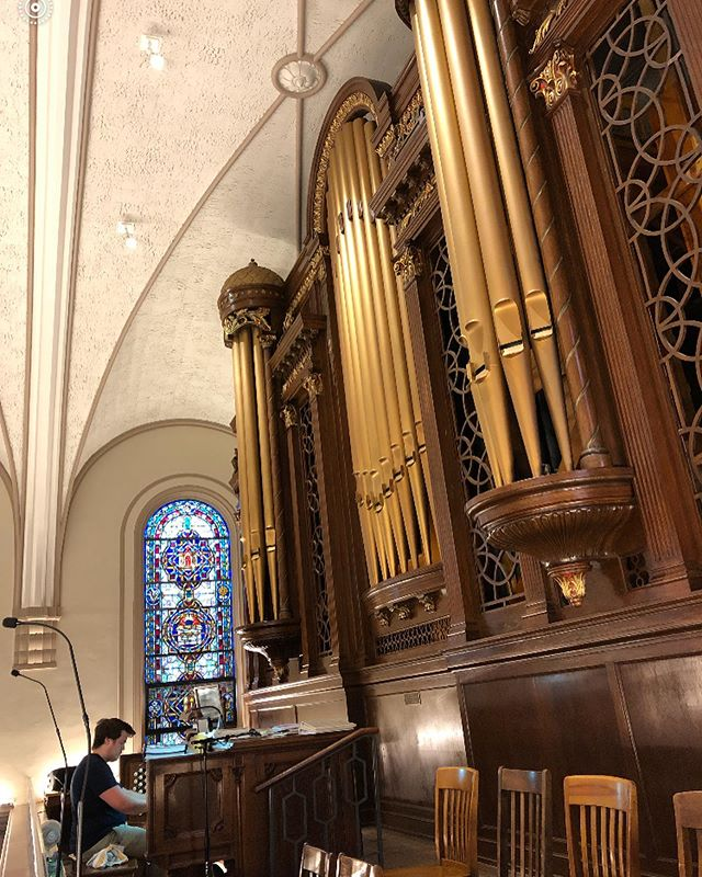 Recorded on a 1940 Casavant Pipe Organ today for the upcoming Halloween album. It felt powerful! Thanks @adambradleyschreiber for recording it with his mobile get up! #pipeorgan #halloween #phantomoftheopera