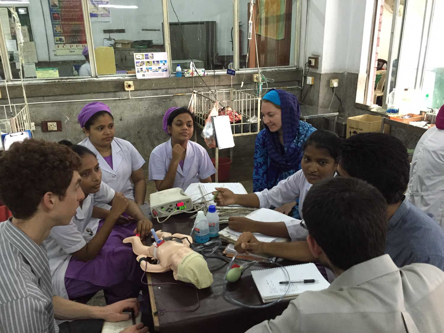 Center for Innovation & Design students learn neonatal care from nurses in Bangladesh, August 2015