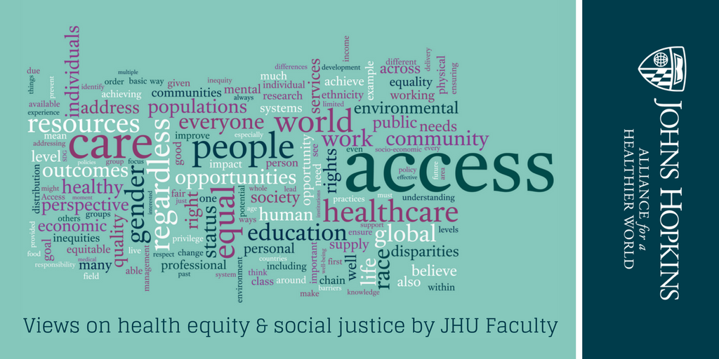 Word cloud generated from answers to a question posed to event attendees during the registration process.  They were asked to share their interpretation of health equity or social justice according personal experiences and from the perspective of their professional disciplines.  Graphic created by Sheridan Jones (AHW) using word cloud software at www.wordle.net.