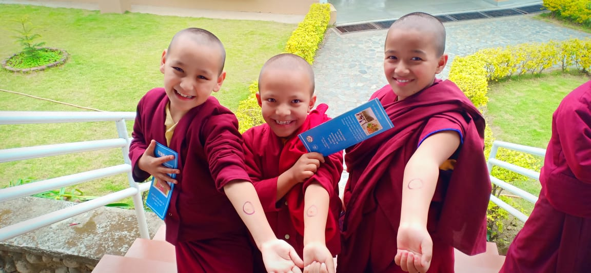 Girls living in a nunnery near Dharamsala in Northern India after receiving a skin test for latent TB, 2018. Photo credit: Delek Hospital