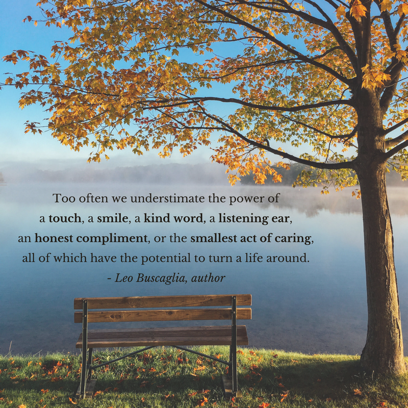 Too often we understimate the power ofa touch,a smile,a kind word,a listening ear,an honest compliment,or the smallest act of caring,all of which have the potential to turn a life around.- Leo Buscaglia, autho.png