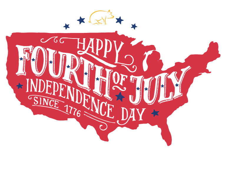 Graphic wishing you a Happy Fourth of July
