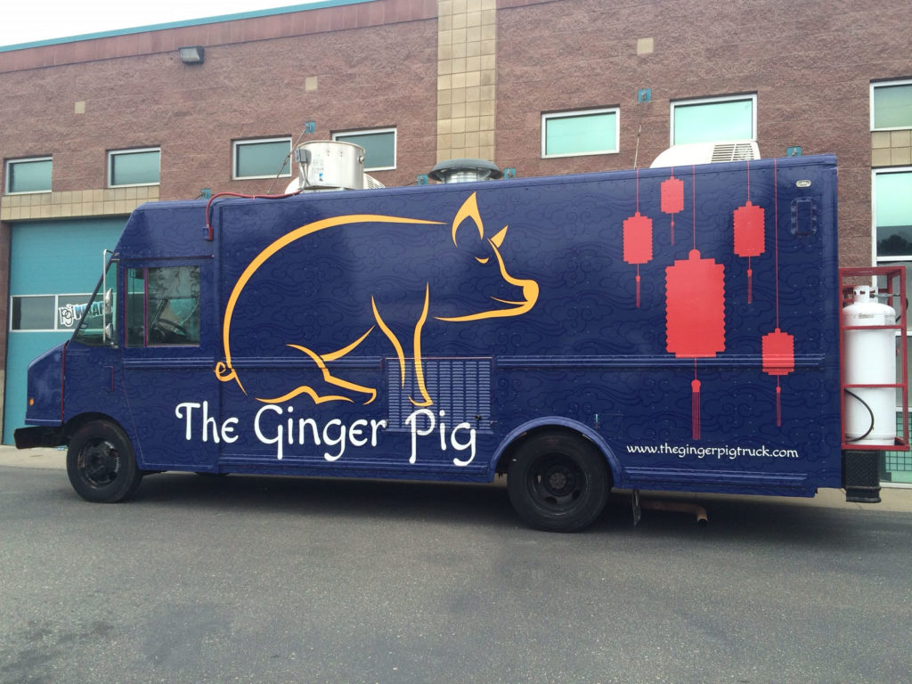 Picture of the Ginger Pig food truck after the wrap guys at PGI were done.