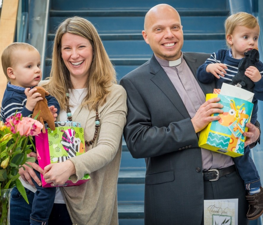 Rev. Lars Nowen, rector of Christ the King Edmonton, and his family.