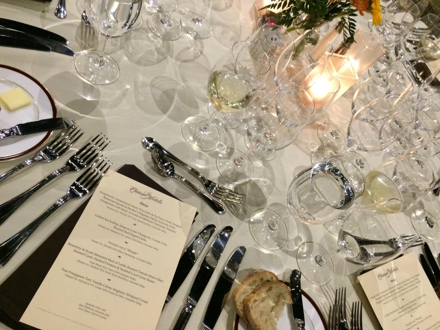 The wine dinner at Chateau Ste. Michelle. Photo by Cara Strickland.