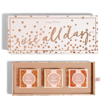 """For the sweetest stocking stuffer idea, look no further than Sugarfina's Rosé All Day® Bento Box. This  cute collection  features three delicious varieties of Provence rosé-infused gourmet gummies: light pink rosettes, gummy bears, and sparkling rosé bears dusted in tart sugar crystals. How sweet it is!""    Rosé All Day 3-Piece Bento Box  from Sugarfina"