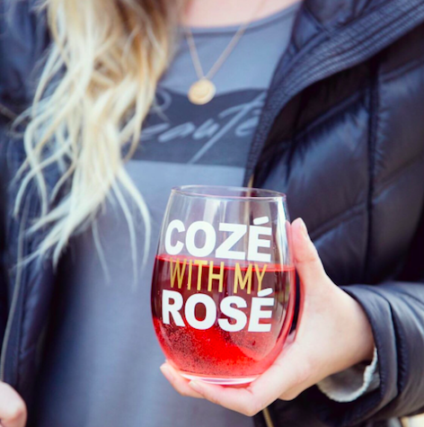 """What could be better than getting cozé with some rosé!?  We love  cozying up with these darling stemless wine glasses (and all the other wine-themed gear and gifts) from this  awesome online shop  from our friends at  Women Who Love Wine .""    Cozé With My Rosé Wine Glasses  from ShopWWLW"