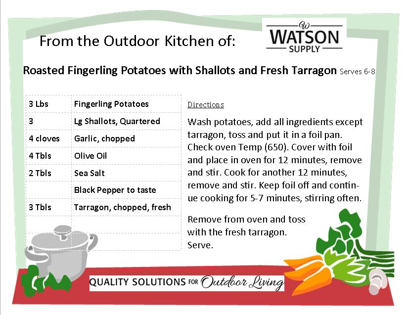 Roasted Fingerling Potatoes with Shallots and Fresh Tarragon Recipe Card jpg