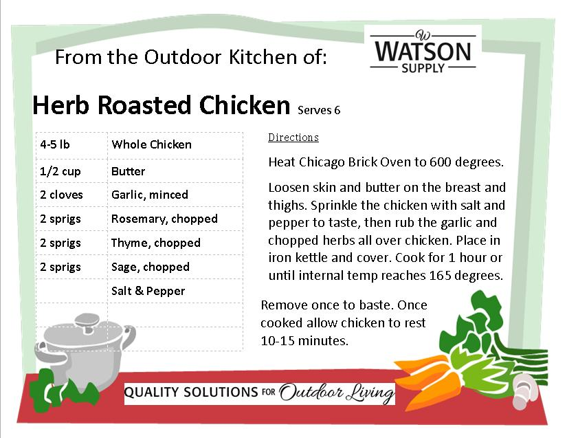 Herb Roasted Chicken Recipe Card