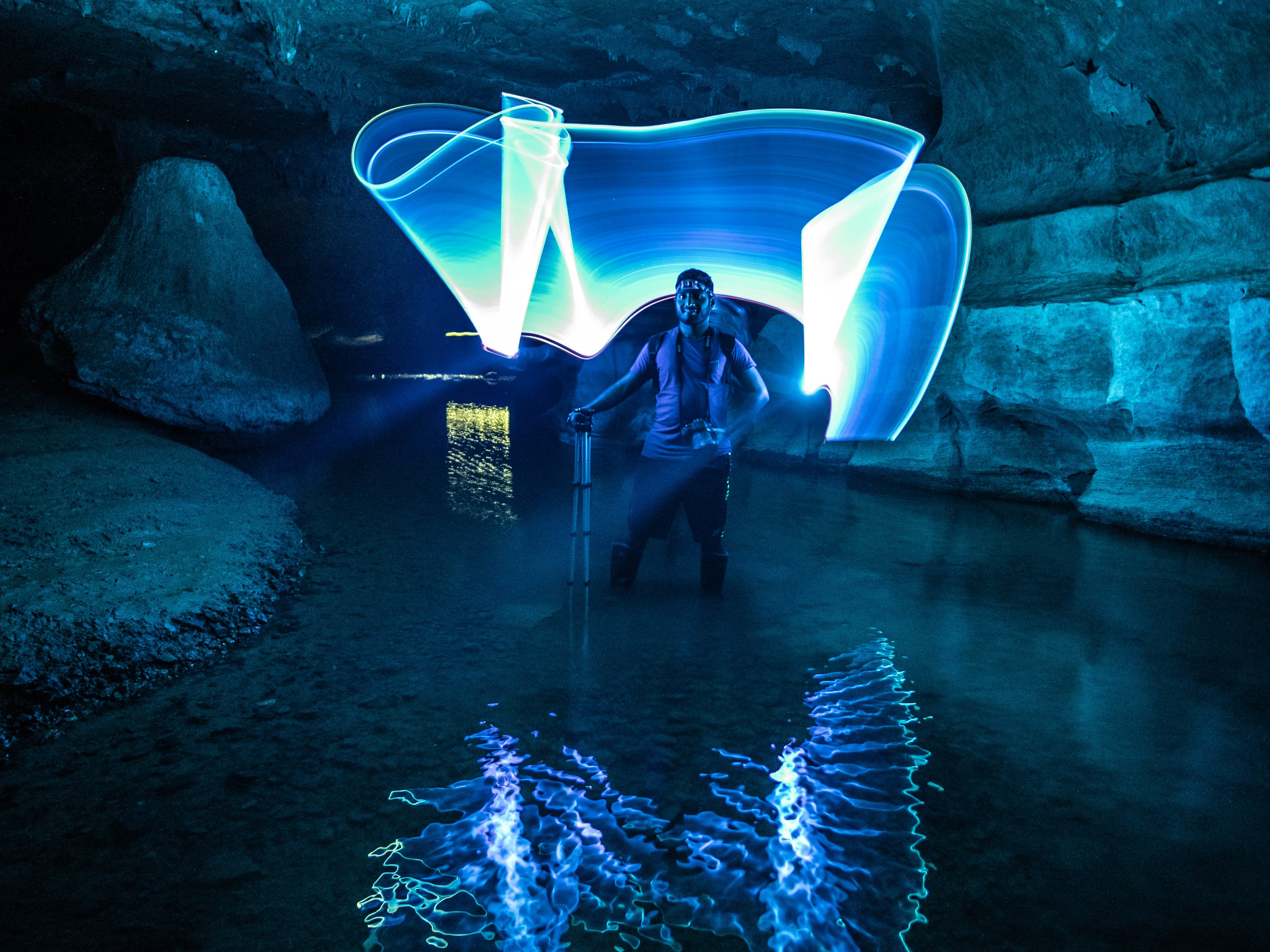Light Portraits - The entrance of the glow worm caves has a shallow river, ideal for light painted portraits. You'll learn all about our light tubes, how to make them and how to use them.
