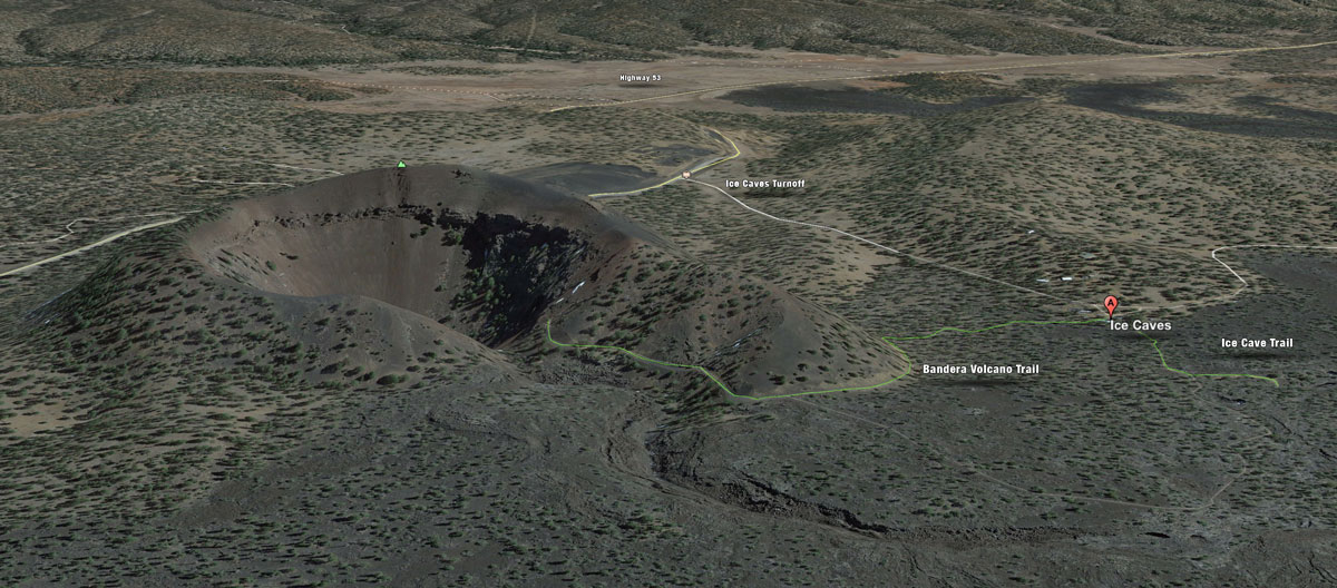 A map of the path to both the Ice Cave and Bandera Volcano.