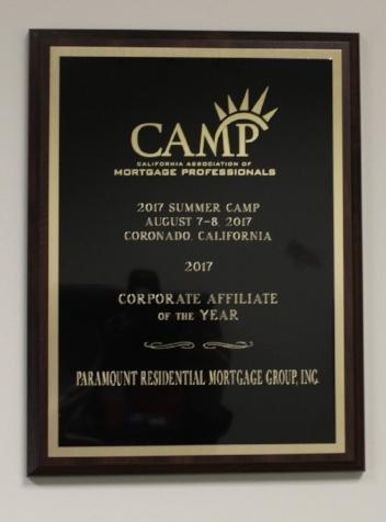 CAMP Corporate affliate of the year 2017