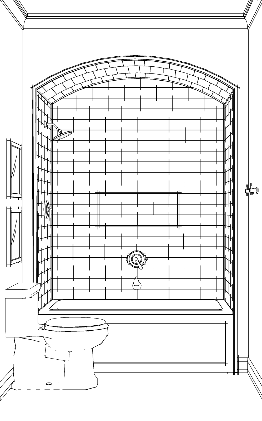 BARRELED, TILE SHOWER ALCOVE PERSPECTIVE
