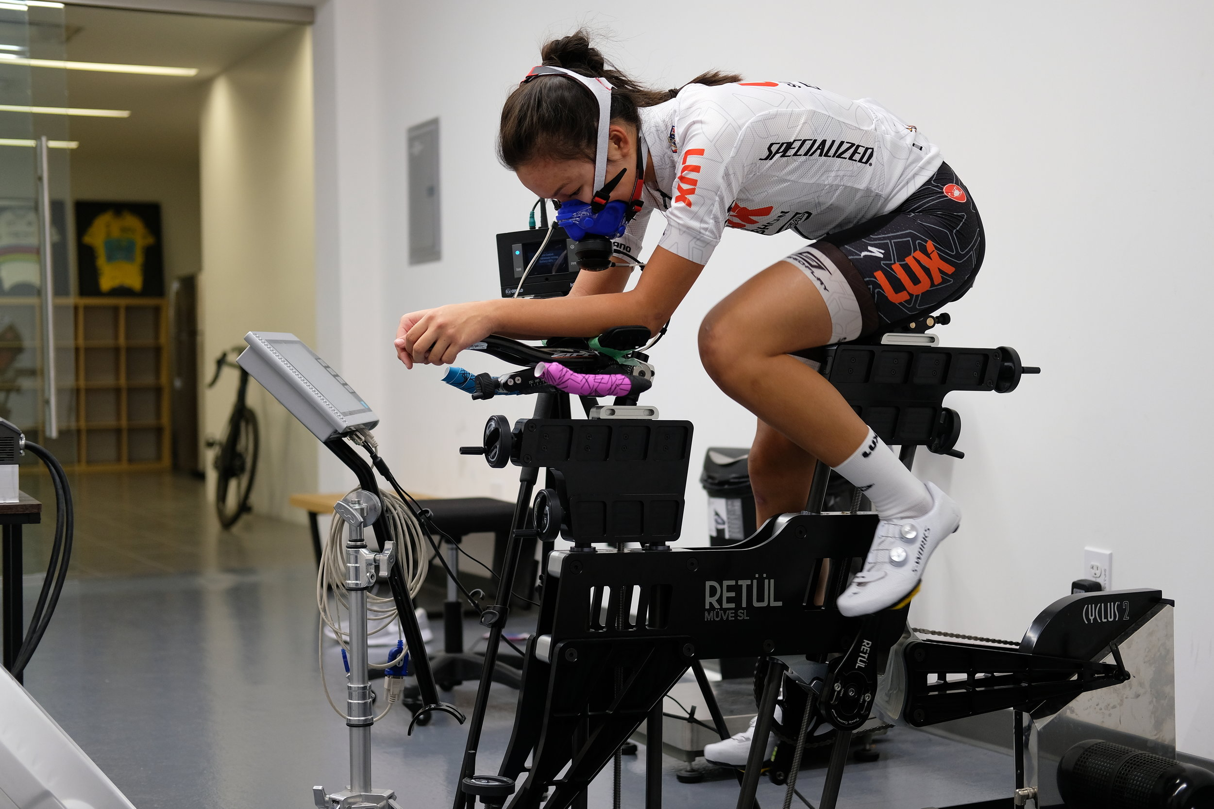 Zoe Ta-Perez going through metabolic testing before entering the Specialized Win(d) Tunnel.