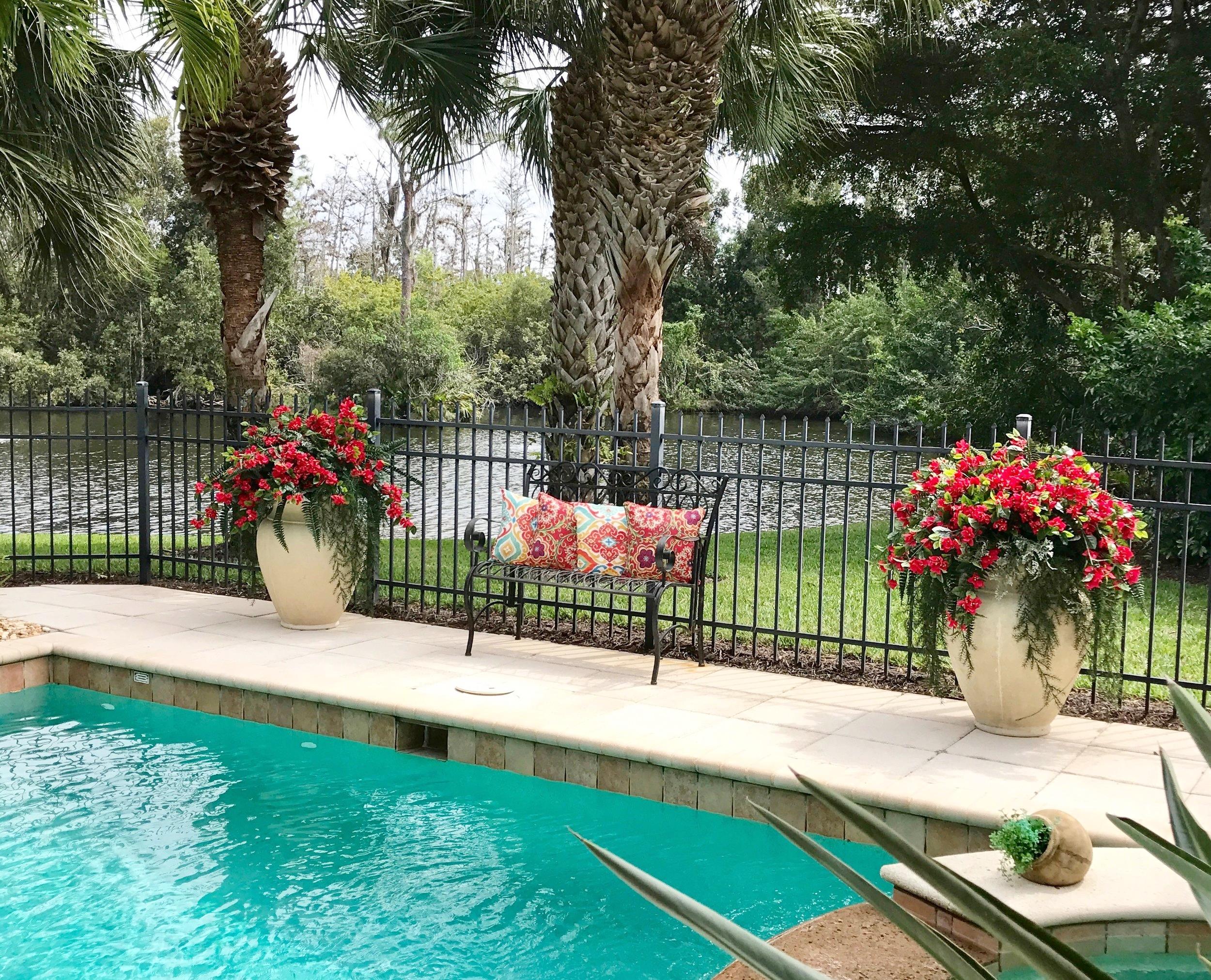 FLORIDA POOL LANAI CONTAINER PLANTINGS