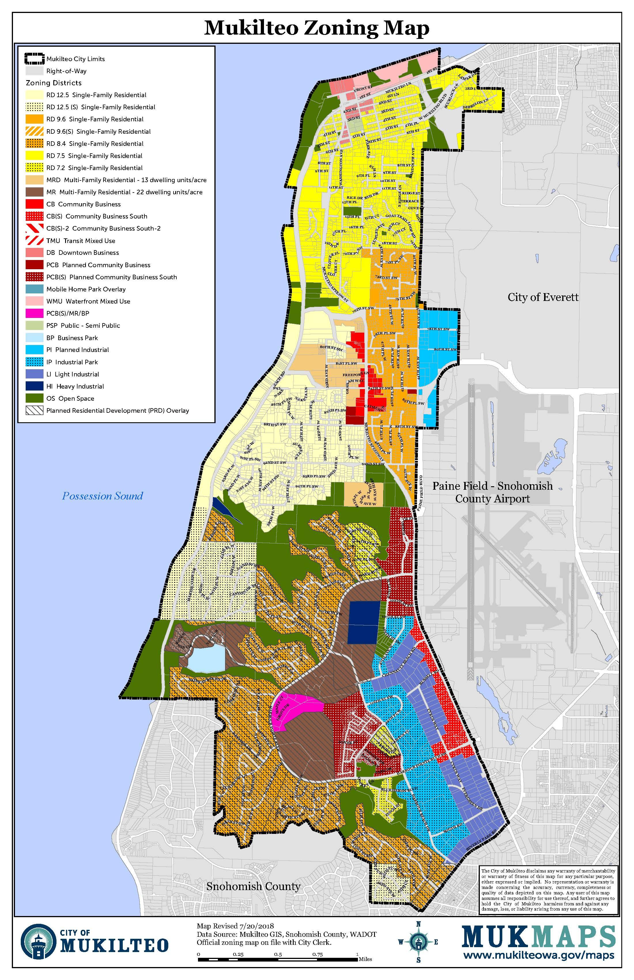 Zoning map of Mukilteo can be found at  https://mukilteowa.gov/wp-content/uploads/Zoning-Map.pdf