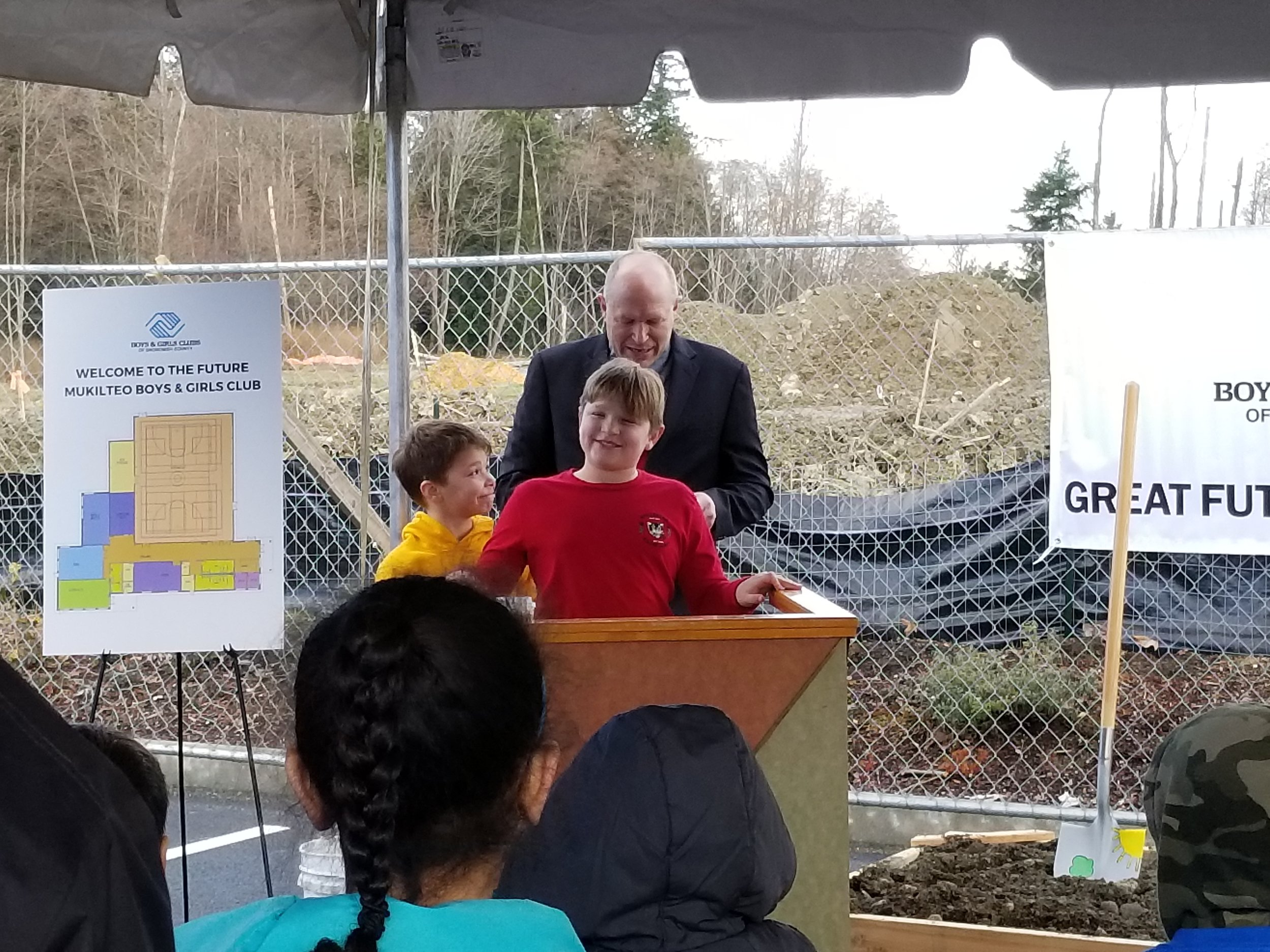 Daniel, Max and PZ at the groundbreaking for the new club.