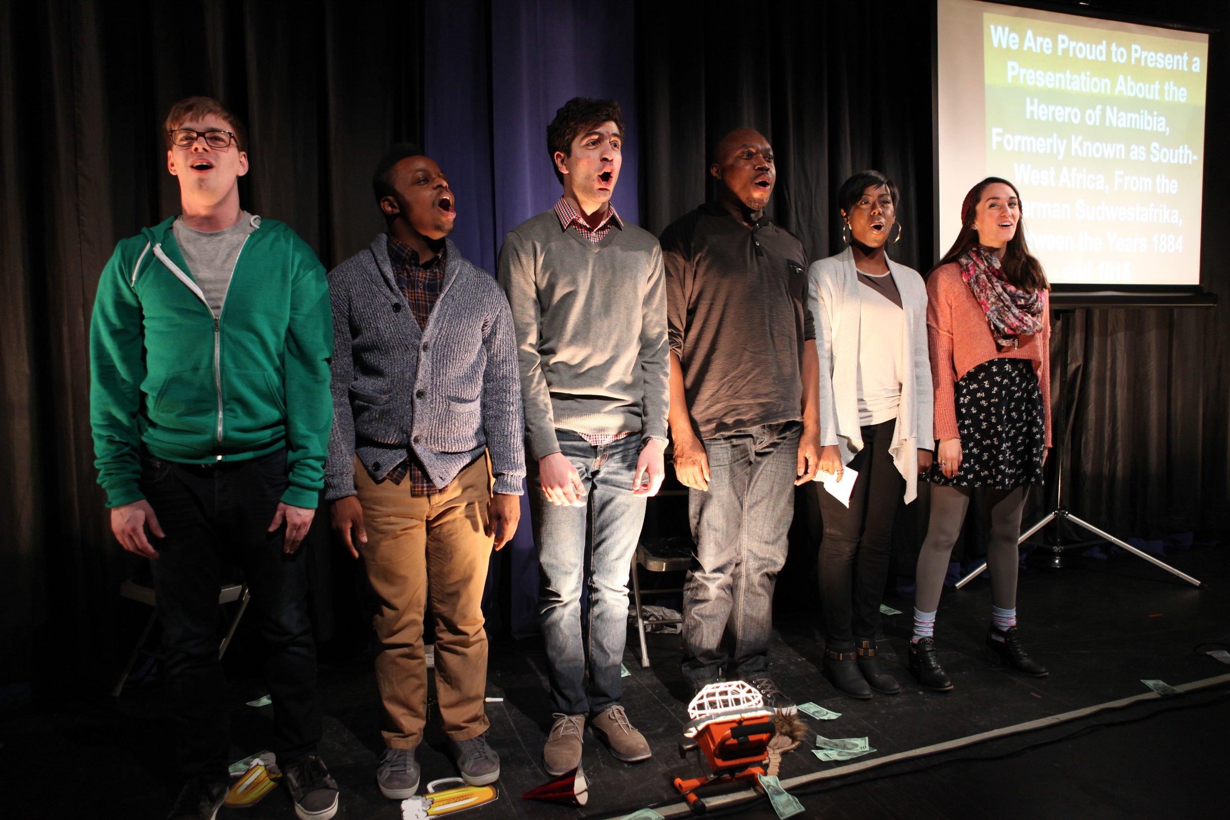 We Are Proud To Present… - By Jackie Sibblies Drury * Designed by Jason Ardizzone-West, Peter West, Beth Goldenberg & Brandon Wolcott * Fordham University, 2014