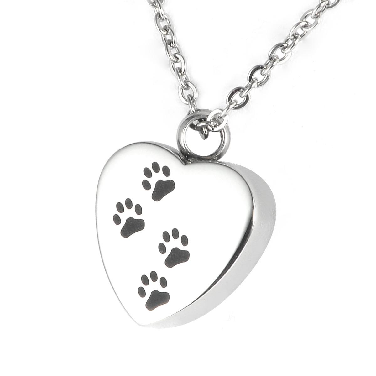Heart/Paw print Stainless Steel Urn Pendant with Chain - 18