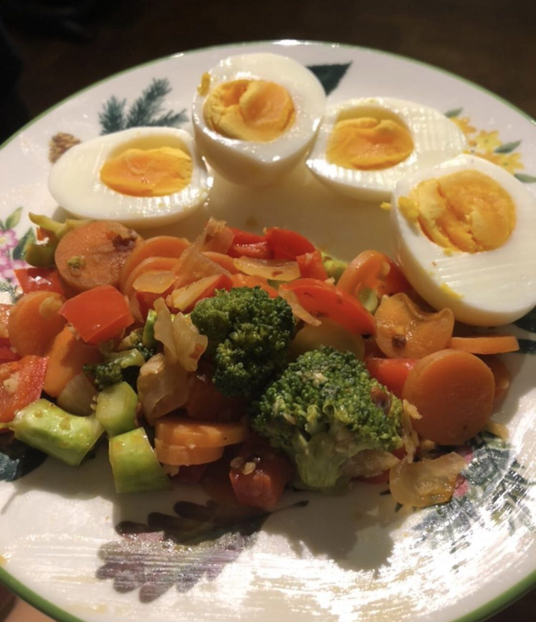 Kirstie's boiled eggs and vegetable stir-fry