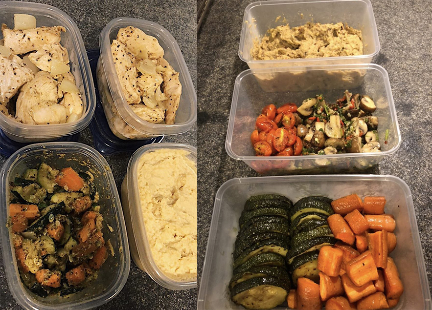 Prepare your food and store them in containers for your meals throughout the week