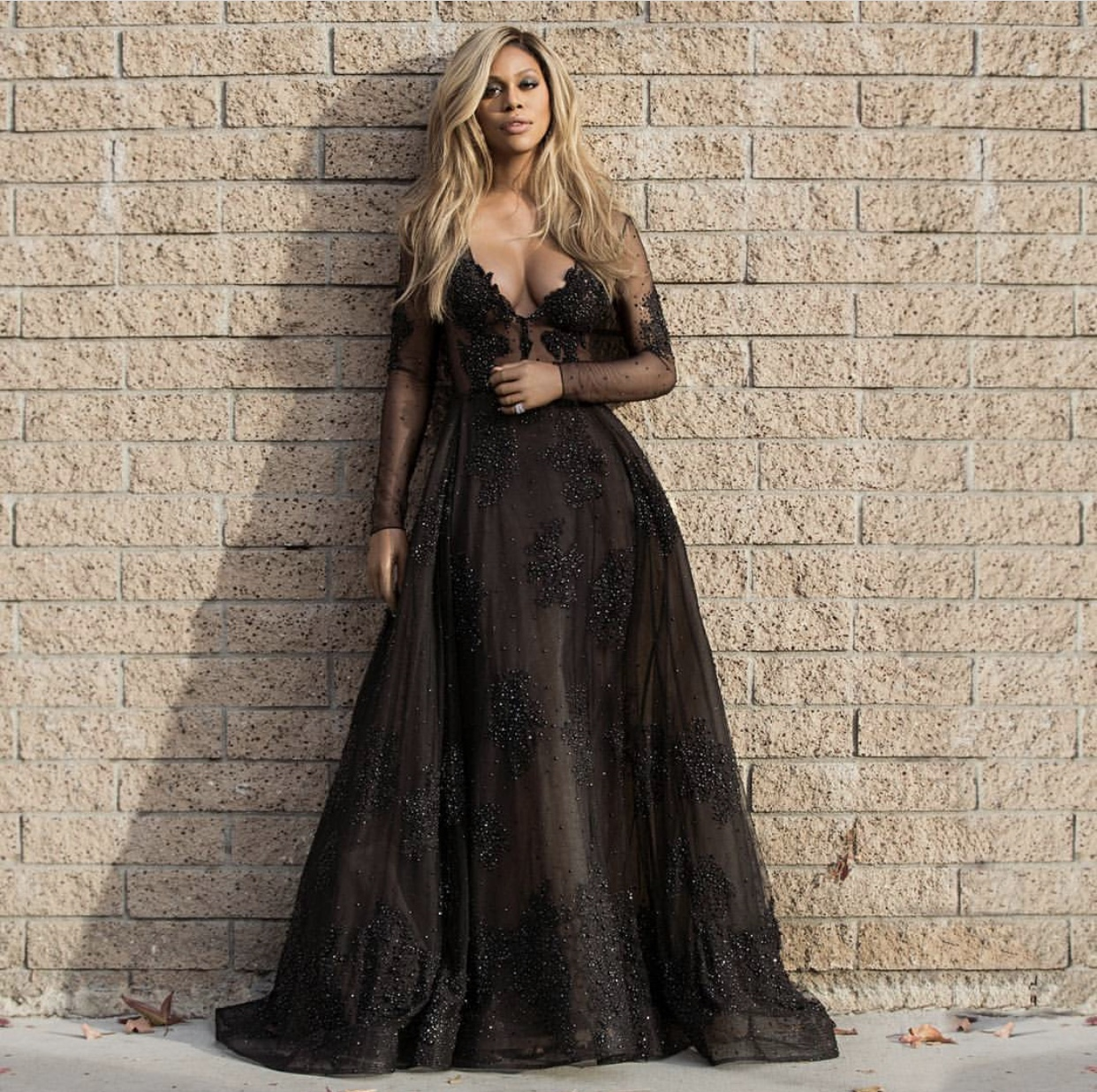 Laverne Cox wearing a bespoke Stella Nolasco GOWN at the Golden Globes on Sunday, January 7, 2018 in LOS ANGELES. -