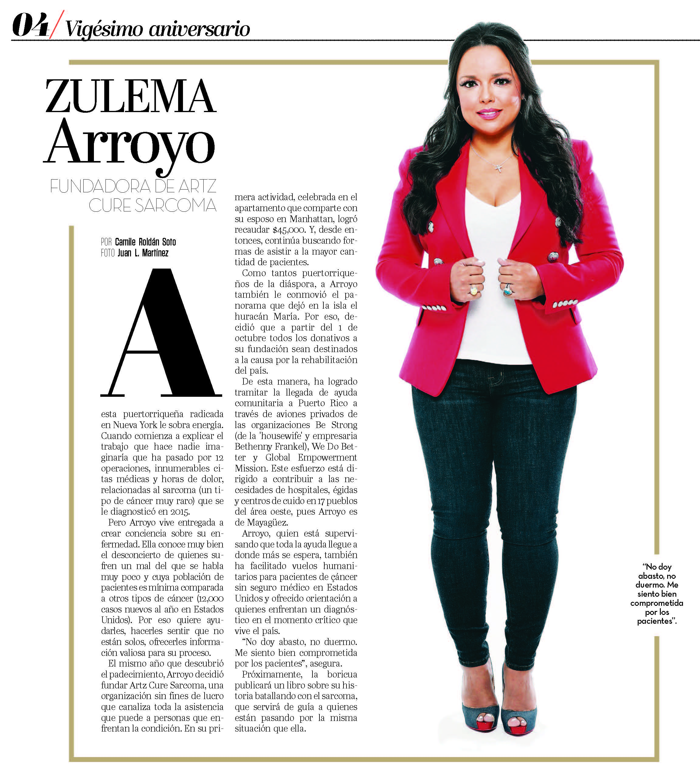 Zulema Arroyo Farley, Magacín Puerto Rico 20th Anniversary issue highlighting the 20 Puerto Rican women influential in the hurricane relief efforts.