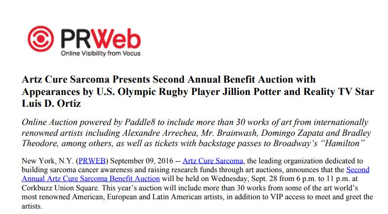 Artz Cure Sarcoma™ Benefit Auction 2016 (English)