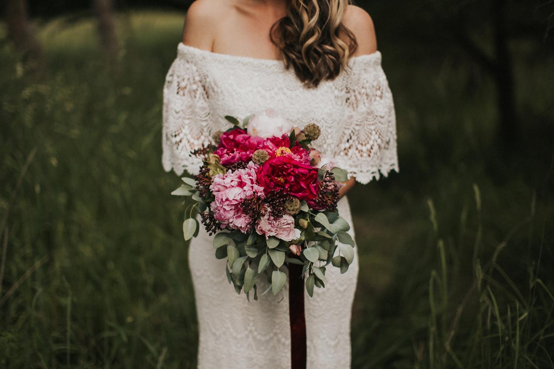 wedding bouquet, peonies