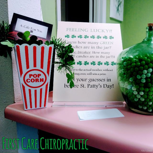 Feeling lucky? Get your guesses in before Friday! #luckoftheadjusted #firstcarechiro #marcustheater #oshkoshchiro