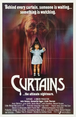 32. Curtains (1983) - A truly disturbing story of a man in power and the women he takes advantage of, Curtains is a strange & almost forgotten slasher from the 80's. A film troubled by forgotten storylines and miss direction, it doesn't get much right but when it does succeed it leaves you haunted. (Watch if for the #IceSkatingHag)