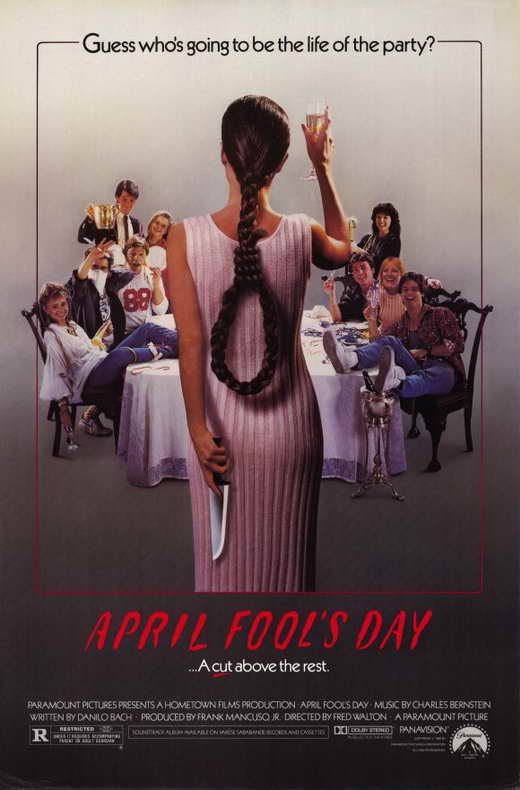 44. April Fool's Day (1986) - A rich friend with an estate on a huge lake, only accessible by boat, invites you over on April Fools Day, what could go wrong? The perfect isolated setting with a cast of attractive 20 somethings, this film has been slept on by too many. Big on pranks but light on the slashing, this holiday-themed slasher is a blast.