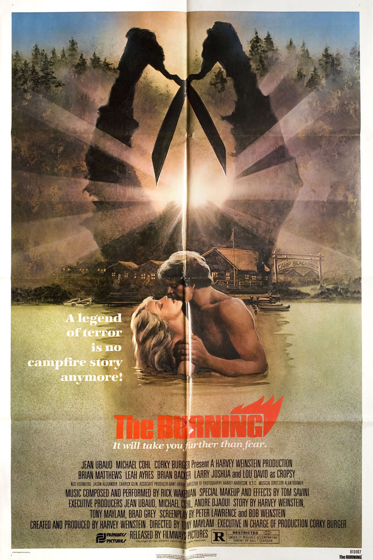 7. The Burning (1981) - The Burning knocks off the original Friday the 13th, and somehow makes it better. Everything you can want in a paint by numbers 80's slasher that should go down in film history for the raft scene alone. Long live Cropsy.
