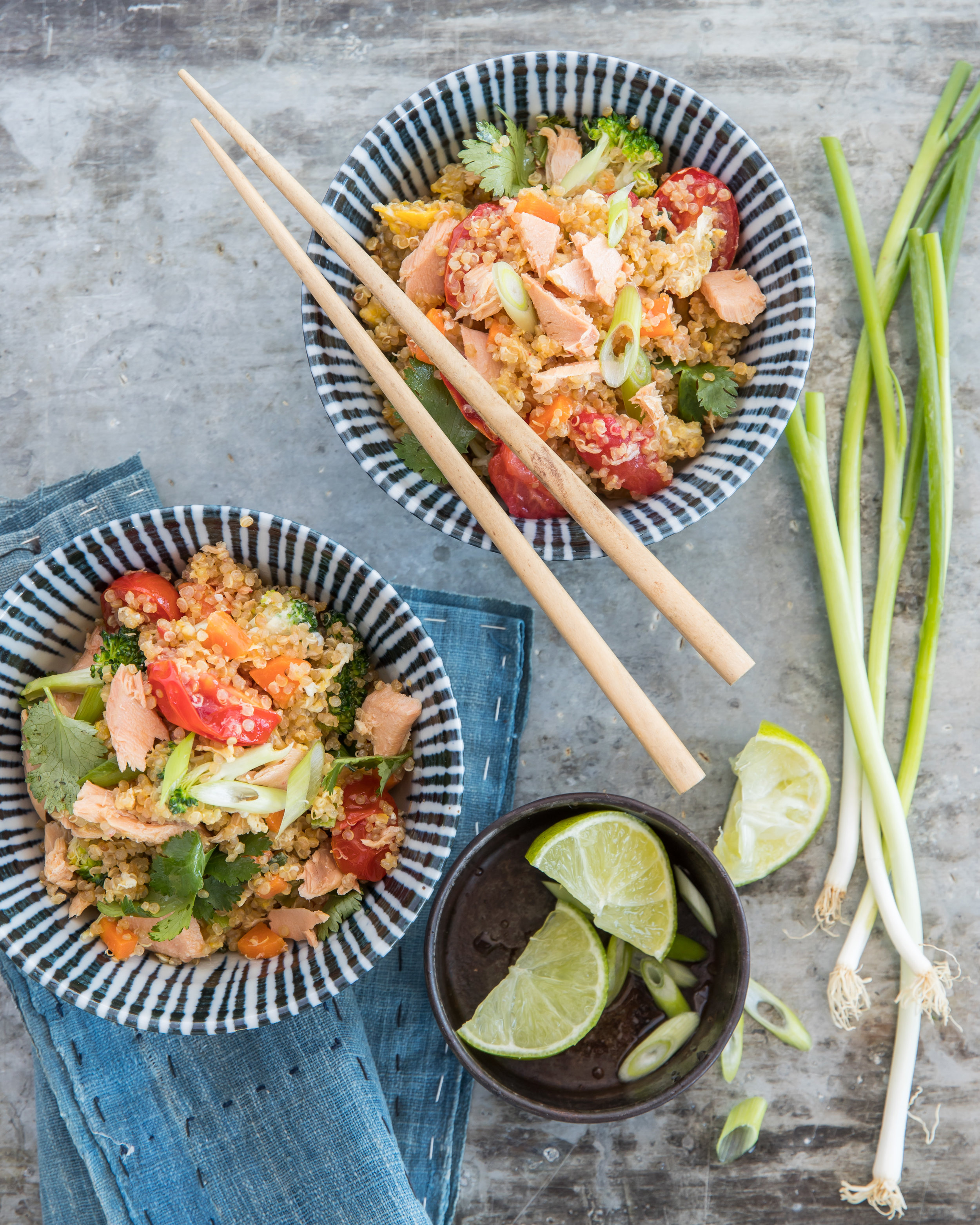 Fried Olive Green Organics quinoa 'rice' with Good Fish salmon