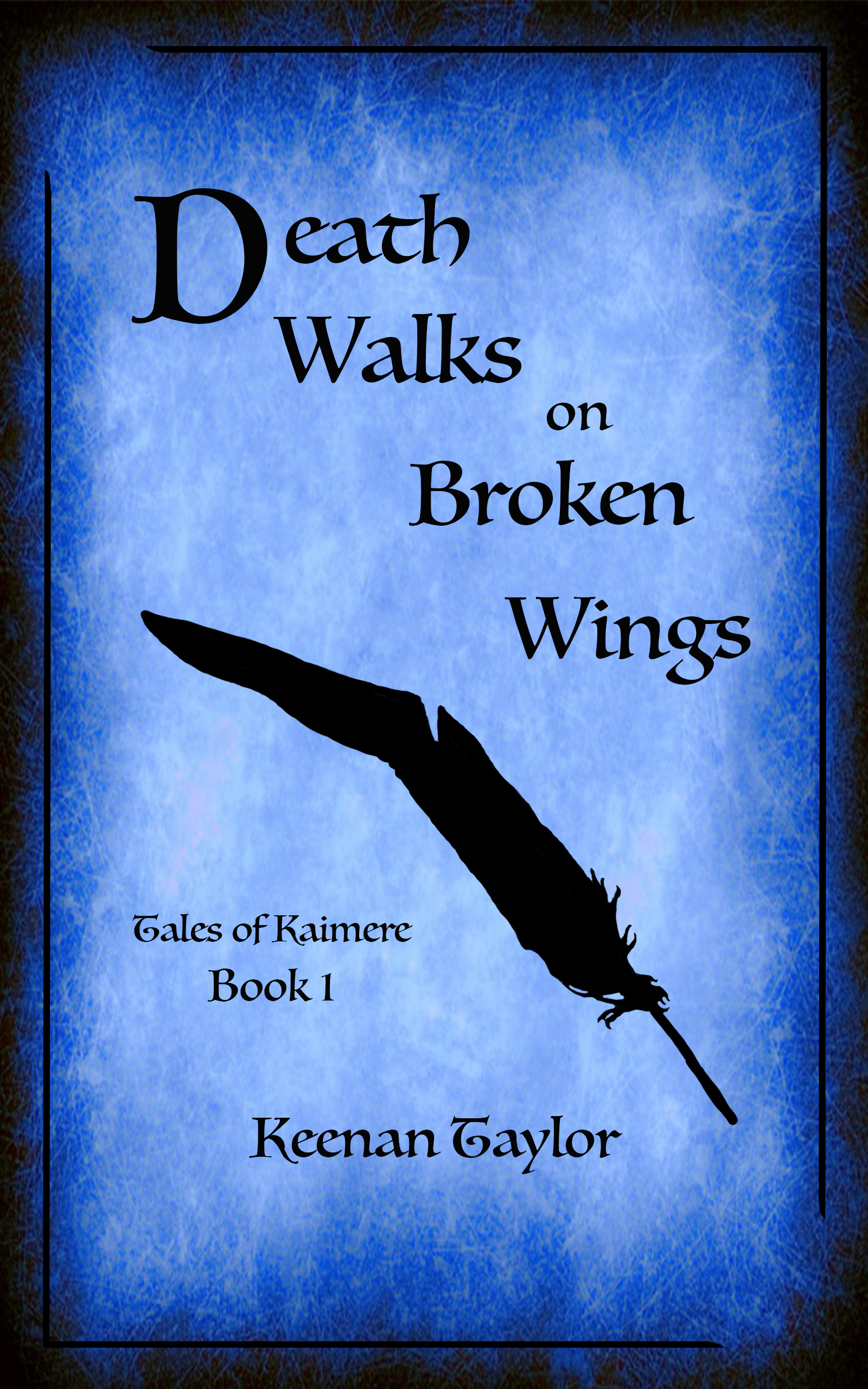 """The cover for my first short story, Death Walks on Broken Wings:  """"A ravenous and sadistic creature named Vaskalamaldus the Raven King has taken to rampaging through the Qajarith forest country. As Qajar is tied up in a long, brutal war, the Senate cannot spare forces to deal with a beast in the rural towns in the far north. The monster is unchecked. Now he kills for pleasure. Tsingus the Carpenter lost his family to the latest attack. Revenge consumes his thoughts. Hope for retribution comes in an unlikely ally, and Tsingus joins several other loggers in a desperate quest: end the reign of the Raven King.""""  Cheers, folks! -Keenan"""