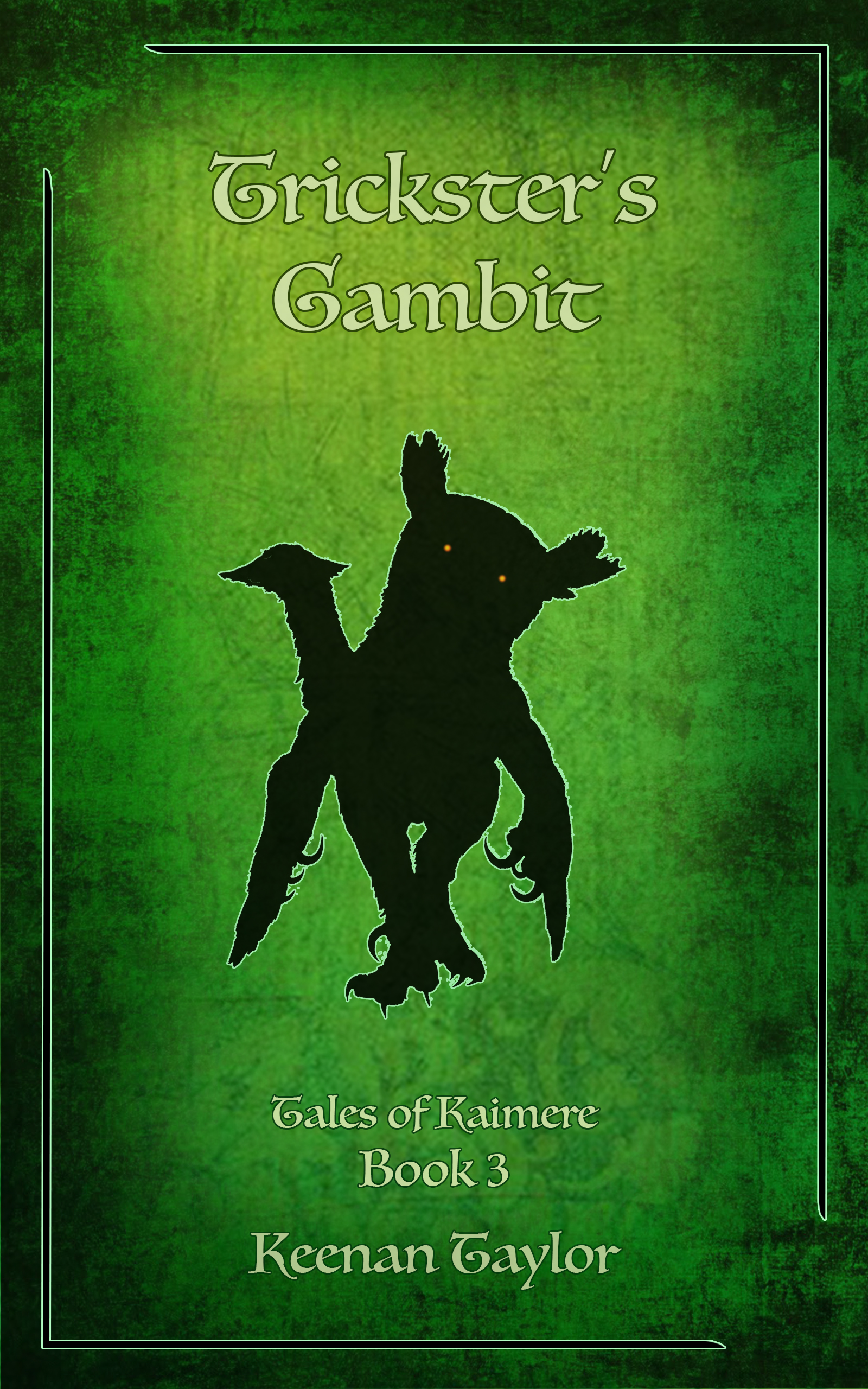 """""""Trickster's Gambit, the third instalment in the Tales of Kaimere short story collection, takes readers to the cold rainforests of Pakardia. Ja'Kosi is a young storyteller. She has been accused of murder, but as there are no witnesses, she must endure three days alone in the forest. If Ja'Kosi survives, the spirits have judged her innocent. Should she die, her guilt is considered proven. Although Ja'Kosi thinks there is little truth to the stories of woodland spirits and twisted demons, three days is a long time to be alone with nothing but yourself and a few stories…"""""""