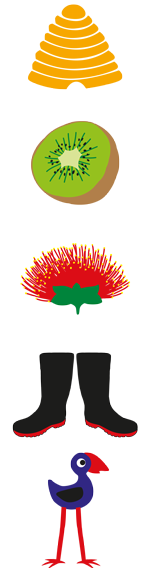 bee-hive-kiwi-pohutukawa-flower-gum-boots-pukeko-bird