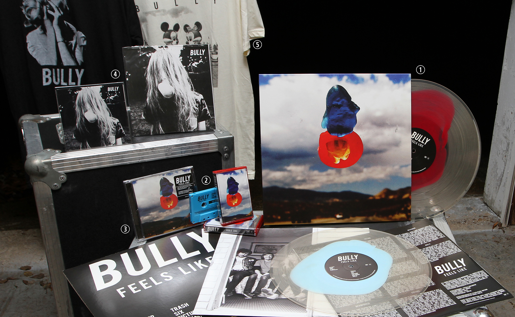 """(1) Feels Like Vinyl LP // Columbia/Startime 2015 (2) Feels Like Cassette // Columbia/Startime 2015 (3) Feels Like CD // Columbia/Startime 2015 (4) Bully EP CD & 45"""" // Self Released 2014 (5) Various T-Shirts"""