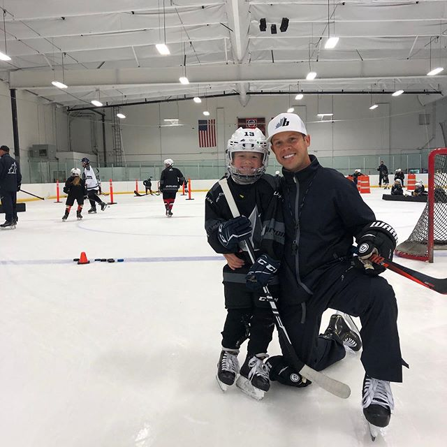 Brock Barron's first day of camp with Dad in the books! Creating memories #barronhockey