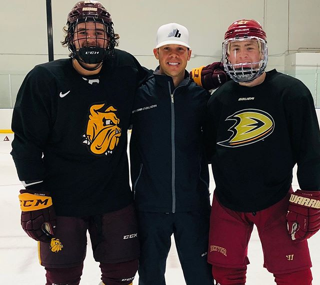 Proud of these two guys! They fought through adversity and doubt most of their minor hockey years, playing in CA. They never quit and silenced the critics, continuing to have success and find their way! @jrosie44 UMD and @kmayhew19 Denver