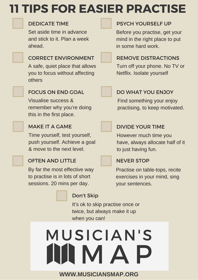 Musician's Map free 11 tips practise checklist